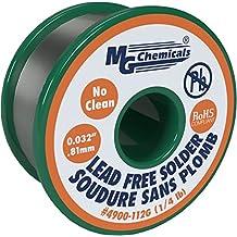 "MG Chemicals SAC305, 96.3% Tin, 0.7% Copper, 3% Silver, No Clean Lead Free Solder, 0.032"" Diameter, 1/4 lbs Spool"