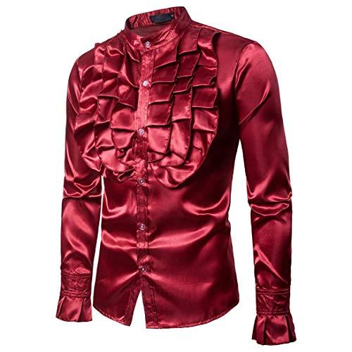 Casual Bhydry Camicetta Top Sera Solida Manica Rosso Modo Di Collare Camicie Uomini Praty Autunno Spiccano Lunga WXHRqzpT