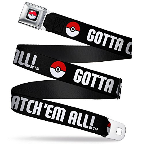 Poke Ball/gotta Catch 'em All Black/white/red Seatbelt Belt