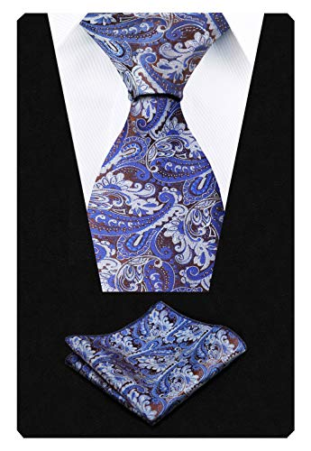 - Men's Paisley Floral Tie Handkerchief Wedding Woven Necktie Set, Royal Blue+Brown