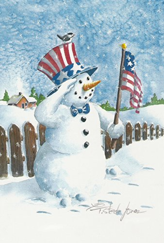 Toland Home Garden Uncle Snowman 28 x 40 Inch Decorative Patriotic Winter House Flag - 109741, Red/White/Blue