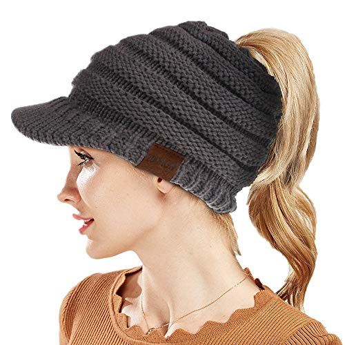 50e771dae03 ZOORON Winter Hats for Women Cosy Lined Knitted Peaked BeanieTail Cable Knit  Visor Ponytail Beanie Hat