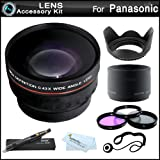 Essential Lens Kit For Panasonic Lumix DMC-FZ60, DMC-FZ60K Digital Camera Includes Lens Adapter + 58mm HD .43x Wide Angle Lens w/ Macro + 58MM Close Up Lens Kit Includes +1 +2 +4 +10 + 3pc High Res Filter Kit (UV-CPL-FLD) + Lens Hood + MicroFiber Cloth