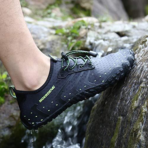 MOERDENG Men Women Water Shoes Quick Dry Barefoot Aqua Socks Swim Shoes for Pool Beach Walking Running (Dark grey) 12 M US Women / 10 M US Men by MOERDENG (Image #8)