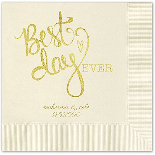 (Canopy Street Best Day Ever Heart Personalized Luncheon Napkins - 100 Ivory Ecru Paper Coined Napkins with a Choice of foil. 6 1/2'' x 6 1/2'' Folded, Made in The USA)