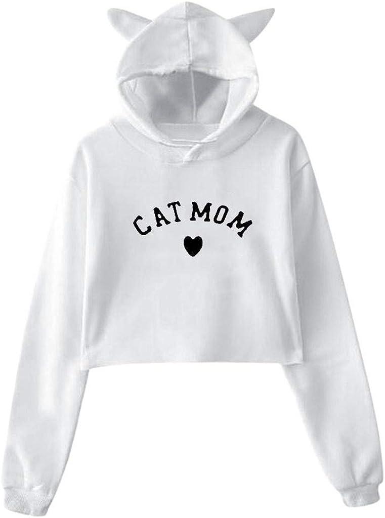 Womens Girls Cat Ear Pullover Hoodie Dog Mom-1 Crop Top Sweatshirts Black