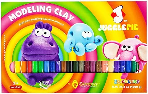 JUGGLEPIE Colorful Modeling Clay for Kids Art Toys for Creative Children Soft and Easy to Mold 24 Color Sticks Non-Hardening Over One Pound of Clay Non-Toxic and Never Dries Out