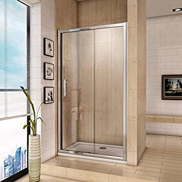 Aica Sliding Shower Enclosure Cubicle Screen and Tray, Metal, Chrome ...