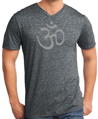 Yoga Clothing For You Mens AUM V-Neck Tee Shirt, XL Heathered Black