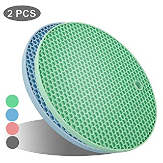 UXUNNY Silicone Pot Holders, Trivets for Hot Dishes - Thick Hot Pads for Kitchen, Heat Resistant Trivet Mats, Oven Pads, Hot Mats for Hot Pots and Pans - Christmas Decor (Blue & Green, 2 PSC)