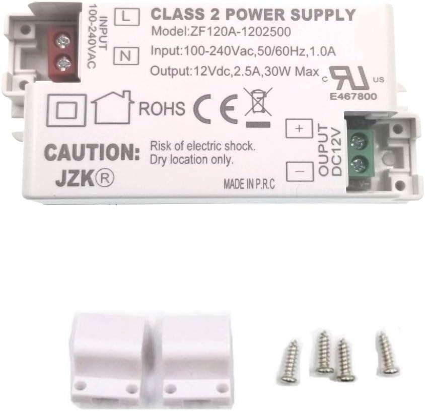 JZK LED transformador driver AC100-240V a DC 12V 2.5A 30w conductor convertidor para tira de iluminación LED, bombillas, G4, MR11, MR16