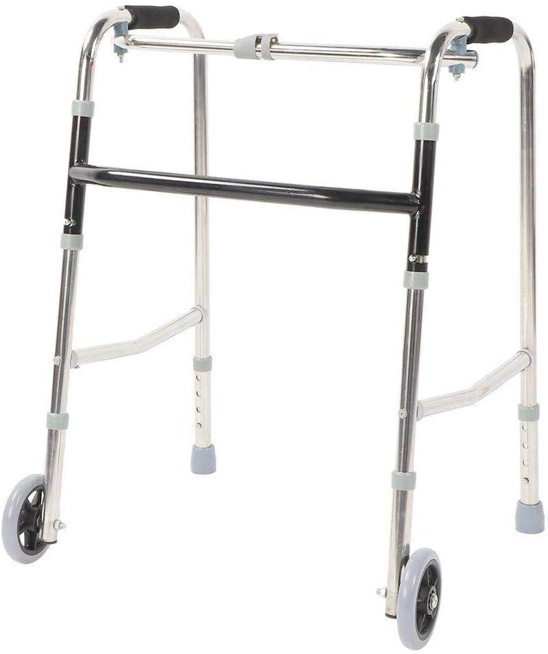 Andador con Ruedas Plegable Andador de Acero Inoxidable para Ancianos Carga Máxima de 150kg Altura Ajustable Caminador Ultraligero 70 x 55 x 48cm