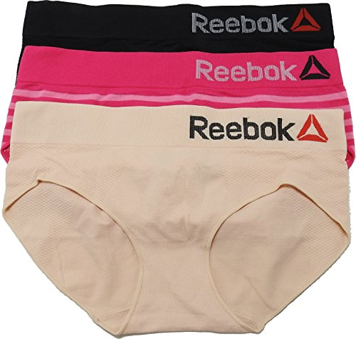 Reebok 3-Pack Womens Size Small Hipster Panties, Pink/Nude/Black