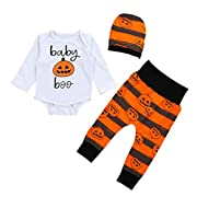 Lingery Newborn Baby Pumpkin Romper Top+Pants+Hat Halloween Clothes Outfit Set (0-6 Months, White)