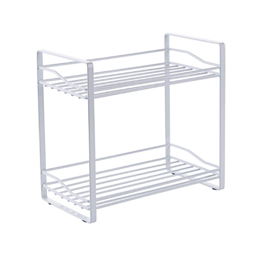 ASIERY Double Wrought Iron Storage Rack Kitchen Storage Spice Holder for Bathroom (Color : White) by ASIERY