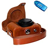 First2savvv XJPT-P7800-09G10 brown full body Precise Fit PU leather digital camera case bag cover with shoulder strap for Nikon Coolpix P7700 P7800 + SD CARD READER