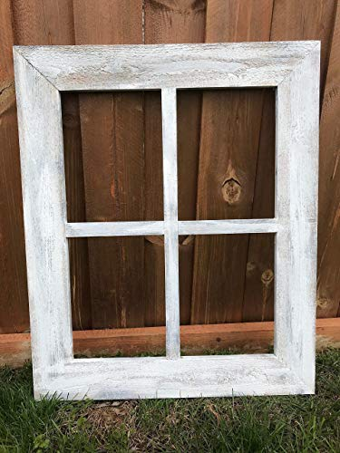 Rustic Window Frame  4 Pane Wide Frame Vintage Distressed Window
