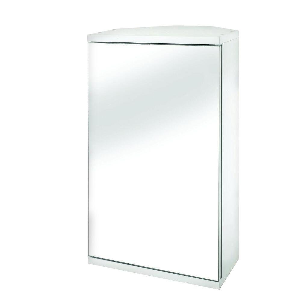 Croydex Simplicity MDF single Door Mirrored Corner Medicine Cabinet with Magnetic Push Catch Opening, White