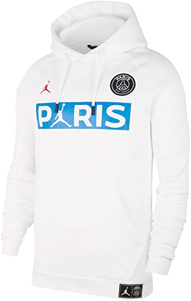 Contrapartida responsabilidad En cantidad  Amazon.com: Nike Paris Saint-Germain Fleece Pullover Hoodie BQ8350-100 Size  XL White/University Red: Clothing