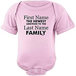 Personalized Baby Clothes Personalized New Baby Name Family Custom Bodysuit Newborn Pink