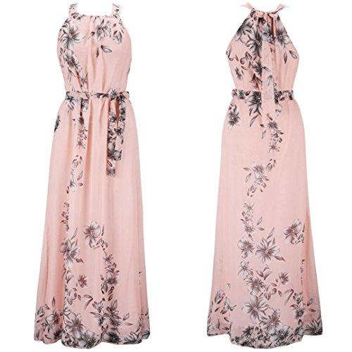 Tian-g Femmes Robe De Plage En Mousseline De Soie Imprimé Bohème Sans Manches Dames Robe Boho Floral Robe Maxi Long Été Imprimé Rose