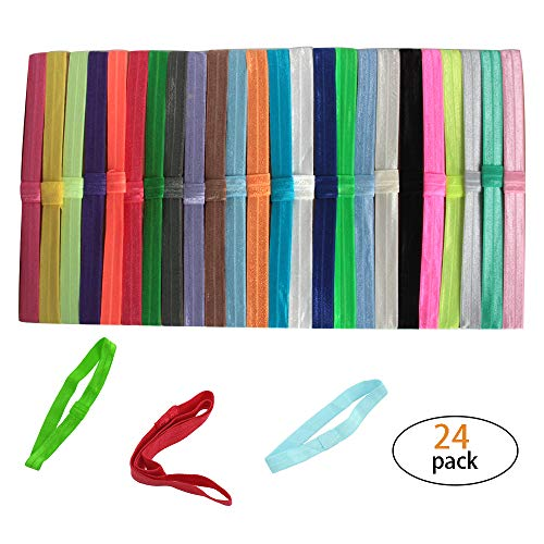 Hapy Shop Elastic Baby Girl Headbands 24 Pcs Newborns Infants Stretchy Hair Band Headwear Hair DIY Accessories for Baby Girls Flower Or Bows ()