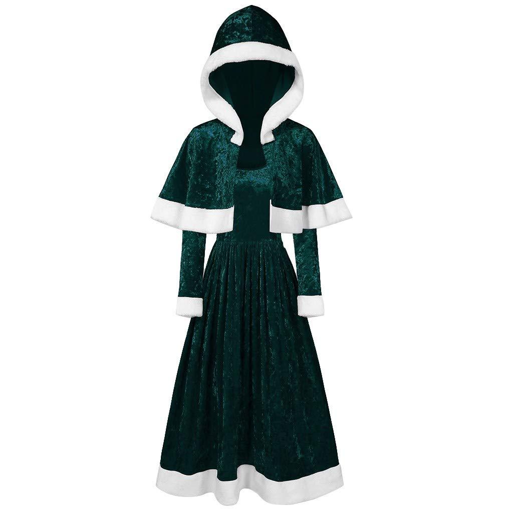 Merry for Girl Velvet Long Sleeve O-Neck Festival Dress and Hooded Cape(S,Green) by Annhoo