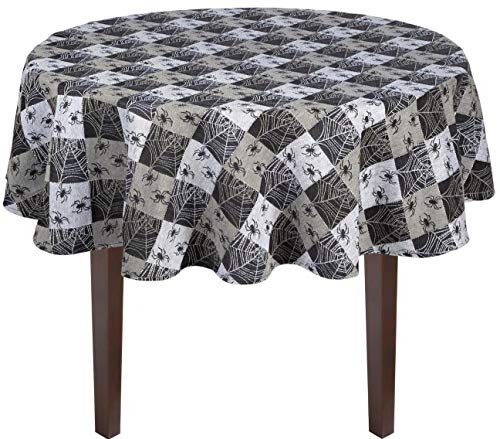 Nantucket Home Black Checkered Spider Web Cotton Fabric Jacquard Halloween Tablecloth (60