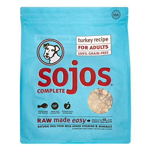 Sojos Complete Natural Raw Freeze Dried Dog Food Mix, Turkey, 7 Pound Bag