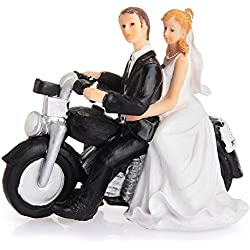 LingStar Cake Toppers Motorcycle Get-away Wedding Couple Figurine Resin Wedding Decoration 13.5*5.5*12cm