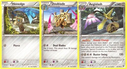 Aegislash, Doublade, and Honedge - Rare Pokemon Card Evolution Set (XY #83, #84 and #85/146)
