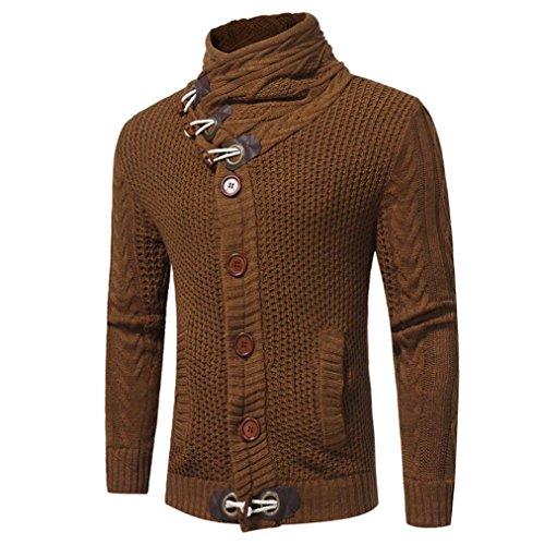 ZARU Chaqueta de los hombres retro de manga larga con capucha Sudadera con capucha Tops Outwear Coat (L, marrón)