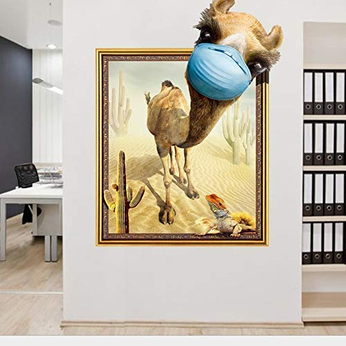 LJLQ 3D Window View Wall Sticker Broken Hole Camel and Lizard (50X70Cm) Bedroom Living Roomchild'S Room Landscape Wall Decoration Home Decoration (Camel Lizard)