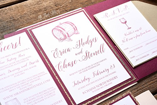 Custom Wine Theme Vineyard Wedding Invite Card, Glitter Wedding Invitation, Glass Cork, Erica Sample