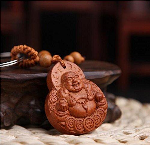 Faraway Fashion Wood Maitreya Buddha Rosewood Car Keychain, Buddha Keychain Key Rings for Men and Women