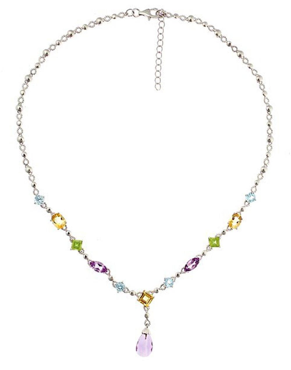 Sterling Silver 925 Multi Genuine Gemstone Adjustable Womens Necklace 16'' - 18'' - The Royal Gift