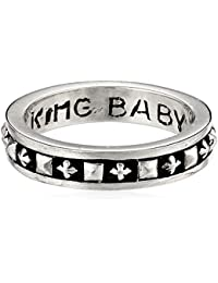 Men's Stackable Studded Ring with MB Crosses