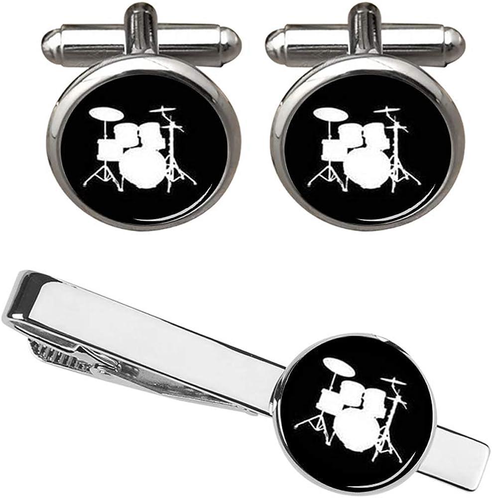 ZUNON Drum Set Cufflinks Musical Instrument Handmade Drummer Silver Groom Groomsman Mens Fathers Birthday Cufflinks