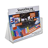 Source One LLC Deluxe 11 X 8 1/2 inch Wide Clear Brochure Holder - Large (4 Pack)