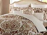 Tahari Home 3 Piece Full/Queen Duvet Cover Set in Shades of Rust, Teal, and Gold on Ivory/Cream - Reversible Medallion Pattern Top, Small Print on Reverse