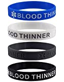''BLOOD THINNER'' Medical Alert ID Silicone Bracelet Wristbands 4 Pack