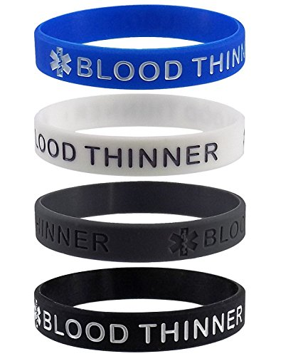 ''BLOOD THINNER'' Medical Alert ID Silicone Bracelet Wristbands 4 Pack by Max Petals