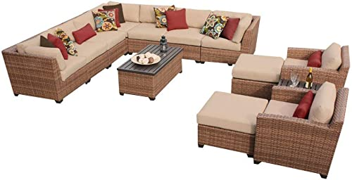 TK Classics 13 Piece Laguna Outdoor Wicker Patio Furniture Set