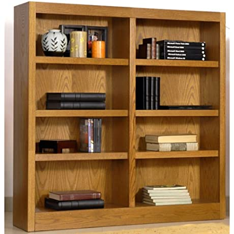 Midas Eight Shelf Double Bookcase 48 H Dry Oak Finish