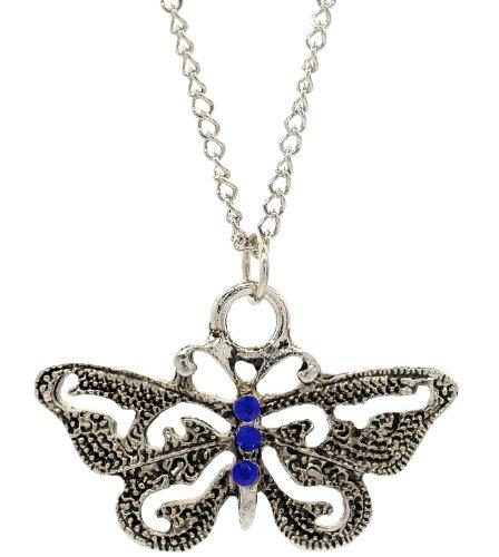 Collier Papillon Style vintage avec Oxyde de Zirconium Bleu–Déclaration bijoux, cadeau idéal