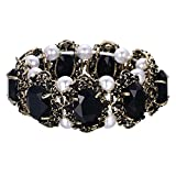 BriLove Antique-Gold-Toned Bracelet Simulated Pearl Crystal Victorian Style Multi Floral Cameo Inspired Oval Stretch Bracelet for Women Black