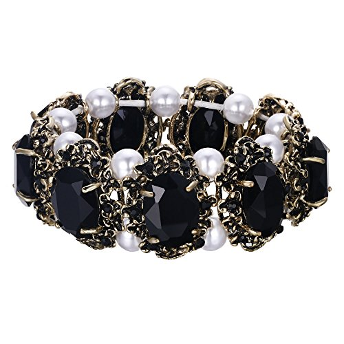 Bracelets Gold Pearl Vintage - BriLove Victorian Style Stretch Bracelet for Women Crystal Simulated Pearl Multi Floral Cameo Inspired Oval Bracelet Black Antique-Gold-Toned