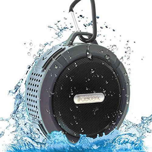 Deklerk wireless waterproof bluetooth speaker for shower and outdoor with louder volume built-in mic, portable speaker for home, Iphone, Ipad, samsung, HTC, android, PC and etc.