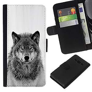 KLONGSHOP // Tirón de la caja Cartera de cuero con ranuras para tarjetas - nieve del invierno lobo salvaje aullido blanco negro - Samsung Galaxy A3 //