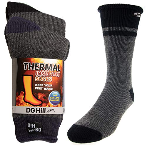 2 Pairs of Mens Thick Heat Trapping Insulated Heated Boot Thermal Socks Pack Warm Winter Crew For Cold Weather from DG Hill